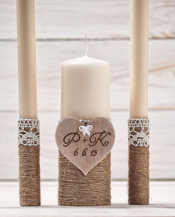 Personalized Unity Candle Set Wedding by InesesWeddingGallery