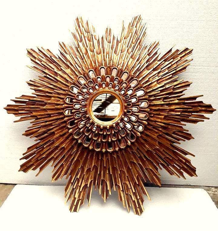 MASTERPIECE Spanish carved gilt wood Sunburst starburst mirror pan de oro CHURCH