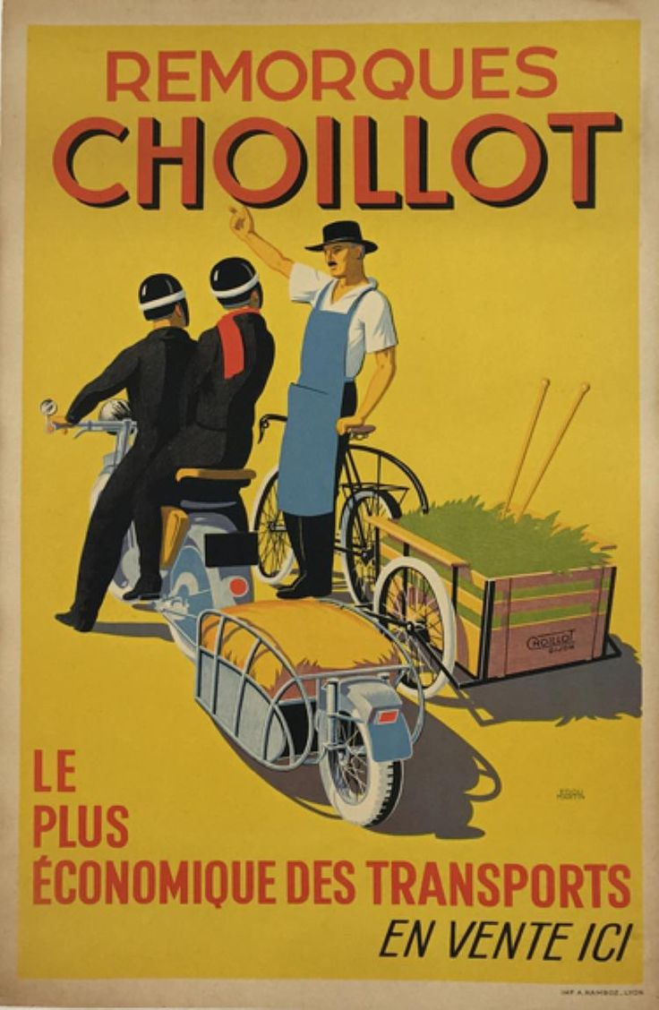 Choillot Moto Remorques original 1930 vintage transportation poster from 1930 France by Edouard Martin.