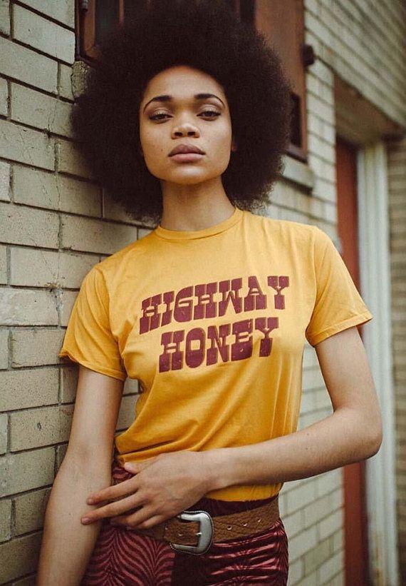 3db819db124 Highway Honey- 70s inspired- gold- women s graphic tee- 1970 s- road trip- biker  tee- women vintage