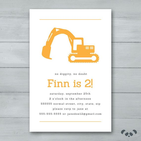 Digger Birthday Party Invitation Digger Invite
