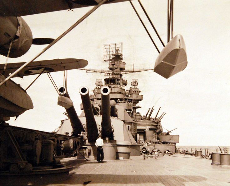 """Aleutian Island Campaign, June 1942-August 1943. USS Pennsylvania (BB 38) 14"""" guns during bombardment of Attu Island, Alaska, May 11, 1943. U.S. Navy Photograph, now in the collections of the National Archives."""