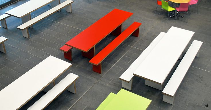 Long 10 person school canteen table and benches with a solid wood edge.