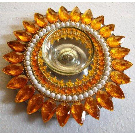 Rangoli Mirror Floating Rangoli Sunflower replica with Candle holder r014bc - Online Shopping for Decoratives by Muhenera-Home Decor-Muhener...