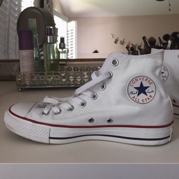 Converse High Tops (Chuck Taylor) Women's, white, Converse All Star (Chuck Taylor) high tops. White laces. Size 8.5 Converse Shoes