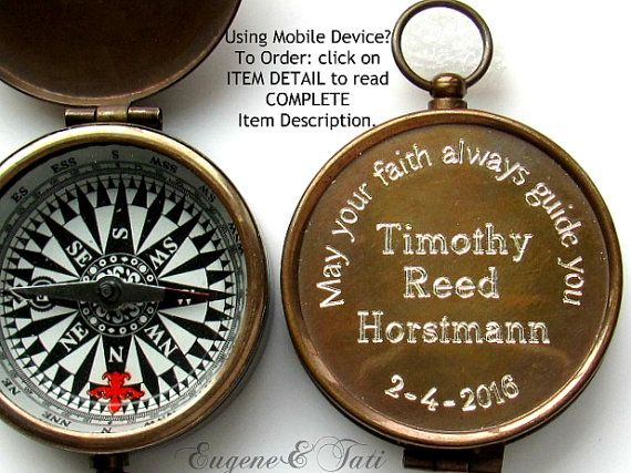 Unique Confirmation Gift, Personalized Custom Confirmation Boy Gift, Engraved Working Compass, Godfather Gift, Catholic Gift, Custom Compass ❤️