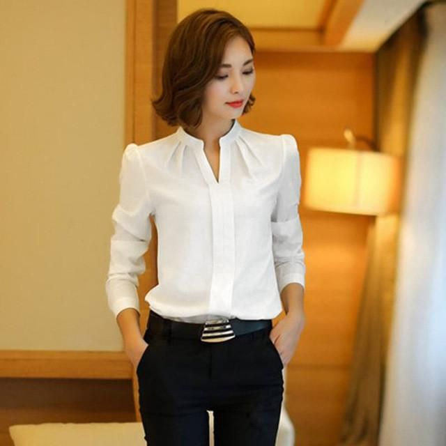 6178362654d White Blouse Chiffon Office Shirts Women Long Sleeve V Neck Work Wear Tops  Solid Color Spring Autumn Casual For Women
