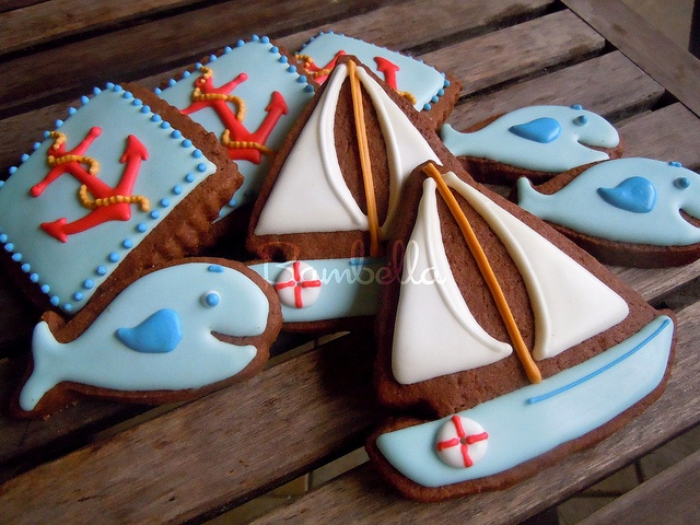 Nautical cookie designs. Anchor, fish, sailboat
