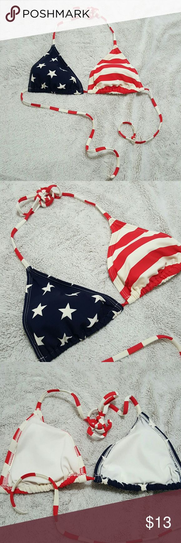 American Flag bikini top American Flag bikini top Good  used condition reasy to be reloved.  Off white vintage coloring  Size Medium. No tags. Swim Bikinis