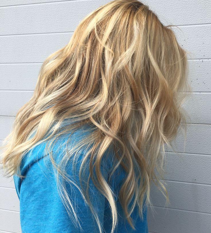 Golden blonde wavey hair