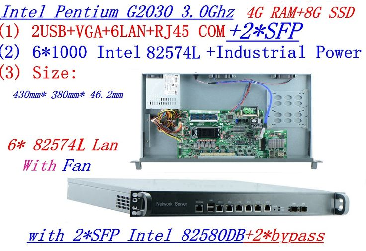 4g ram 8g ssd 1u rack type server with 61000m 82574l