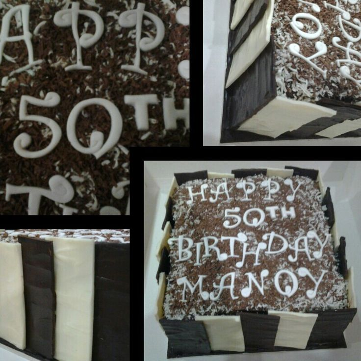 Dark and white chocolate covered mud cake with chocolate buttercream layers.