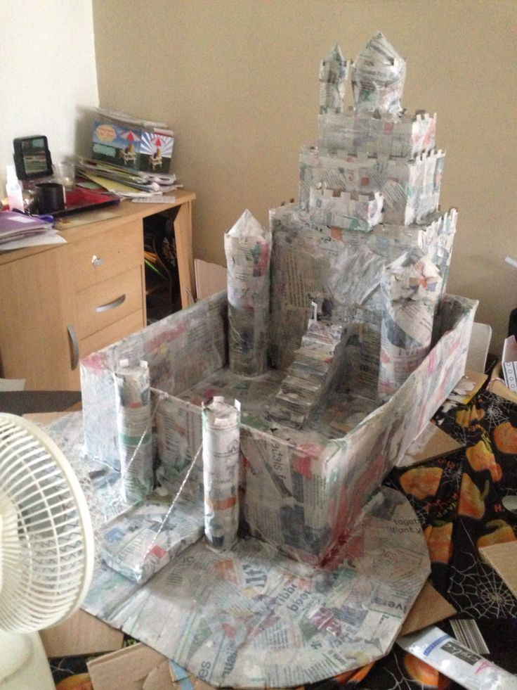 Next paper mâché the castle with newspaper and watered down PVA glue. Put in front of fan to dry if in rush like me.