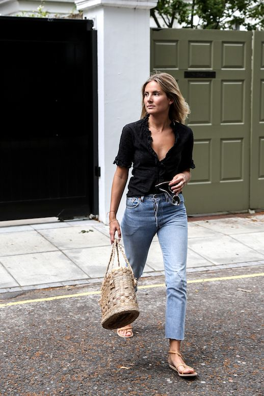 Photos via: Fashion Me Now Lucy Williams is giving us major Brigitte Bardot vibes in her recent look. From the ruffled eyelet top to the cropped jeans and basket bag this is vintage-inspired summer st