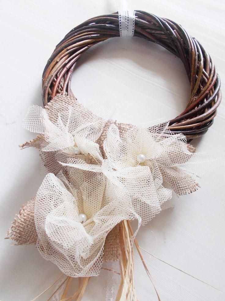 wooden handmade wreath with burlap flowers #wreaths #easter   #blackfriday https://www.etsy.com/shop/mademeathens