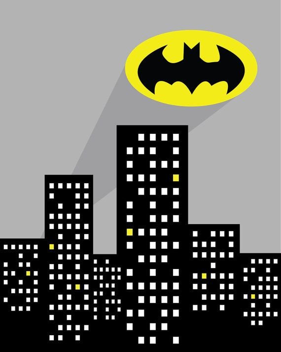 Super Hero Batman Wall Art Printable - Instant Download 8 x 10 - Bat Signal…
