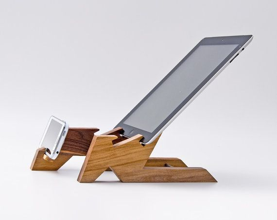 Dual Dock Station / iPad Stand / Wooden Tablet Stand / iPad Stand for Kitchen / Wood iPhone Stand / Cell Phone Stand / iPad Mini ALTAIR