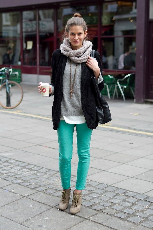 Mint green skinny jeans #style #fashion