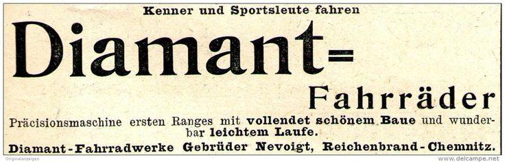 Original-Werbung/ Anzeige 1897 - DIAMANT- FAHRRÄDER / NEVOIGT REICHENBRAND- CHEMNITZ - ca. 90 x 25 mm