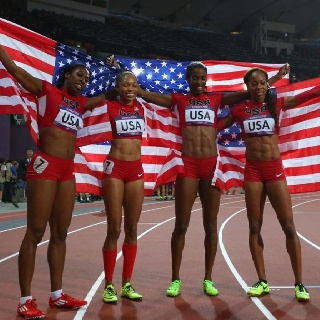 (left to right): Francena McCorory, Allyson Felix, DeeDee Trotter, and Sanya Richards-Ross of the United States celebrated winning gold in the women's 4x400-meter relay final at the 2012 London Olympics - #olympics