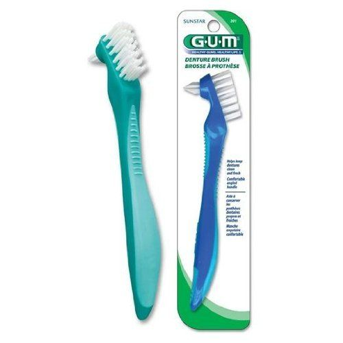 #top GUM #Denture Brush has a dual head design that allows for cleaning denture surfaces and hard-to-reach areas.