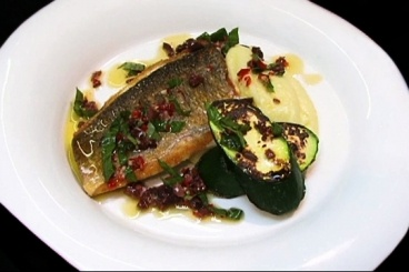 Crisp fillet of sea bream with olive oil mash, grilled courgette and a black olive and chilli dressing