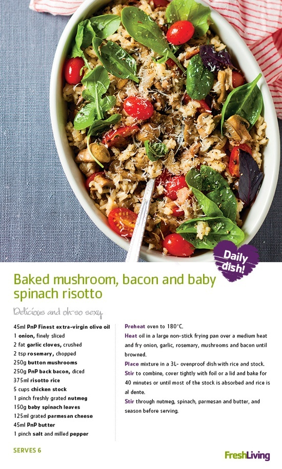 Baked Mushroom, Bacon and Baby Spinach Risotto