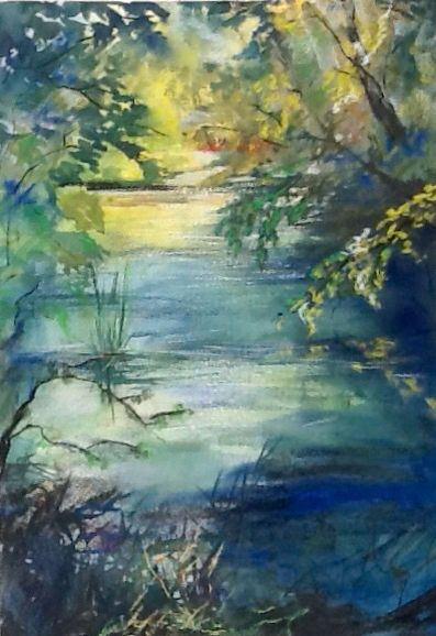 Watercolour with pastel, riverside