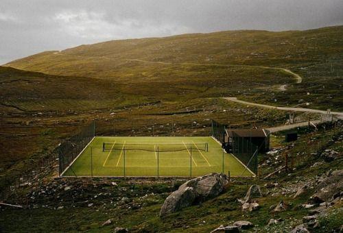 Tennis court in the hills