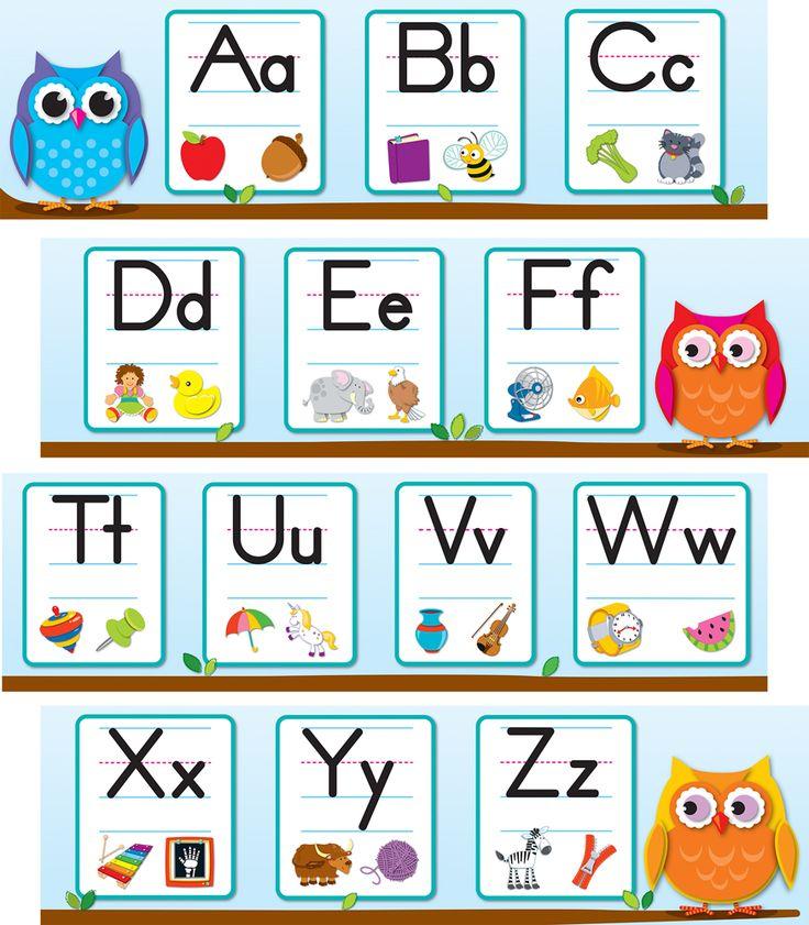 Classroom Alphabet Decor ~ Best images about theme colorful owls on pinterest