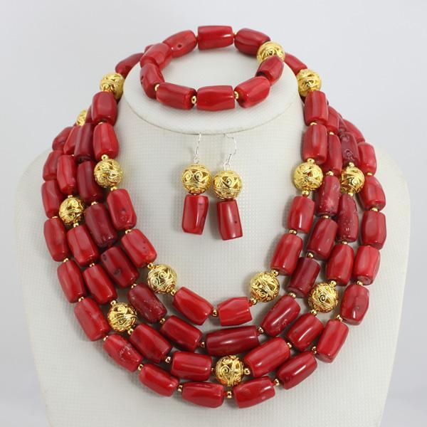 Fashion Red Long Design African Coral Beads Jewelry Sets Indian