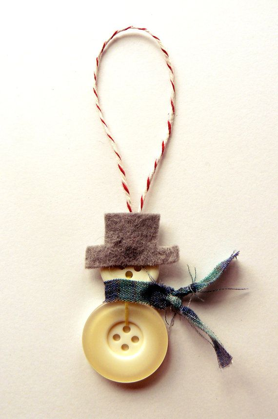 Handmade Button Snowman or Snowwoman Christmas Ornament