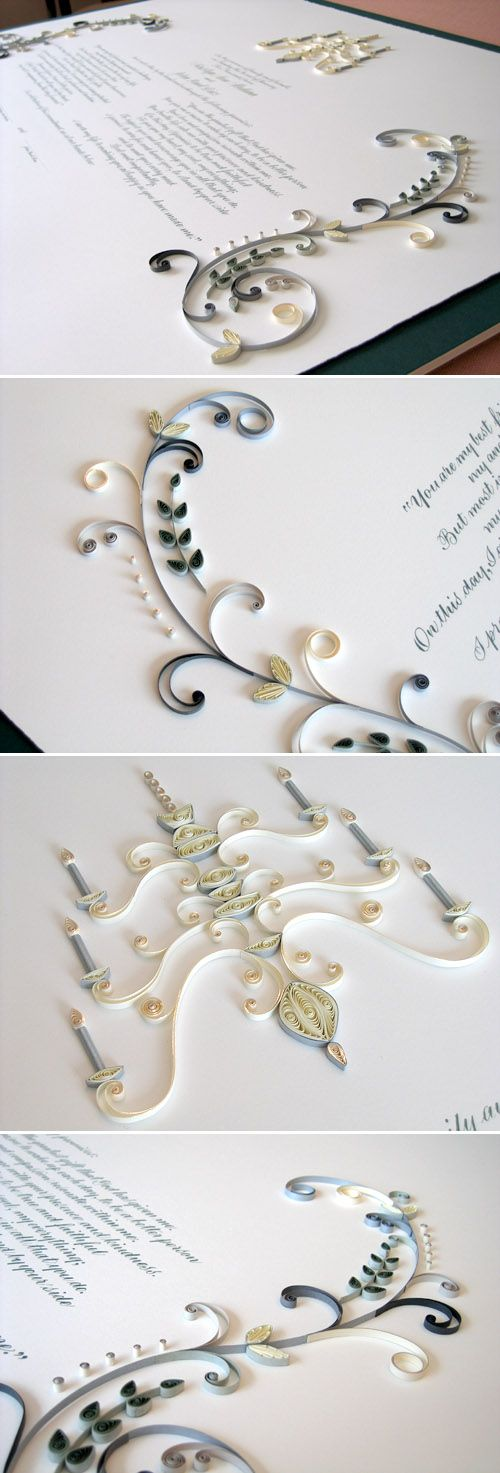 quilled mariage certificates by Ann Martin of All Things Paper