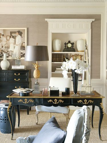 We are totally painting grey and white throughout our next home. Moving soon!!! Love the crystal obelisk, white & gold urns and antique clock - and of course the desk! By Mary McDonald