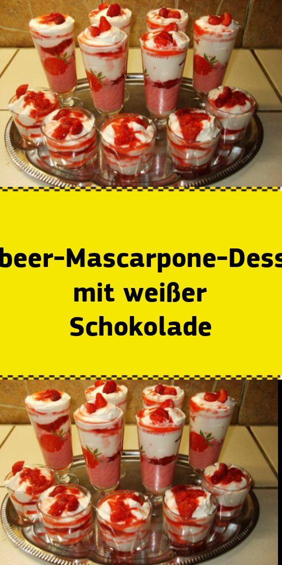 Erdbeer-Mascarpone-Dessert mit weißer Schokolade