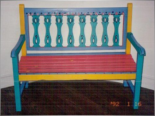 Hand Painted Chairs Stools And Benches, Hand Painted Outdoor Benches