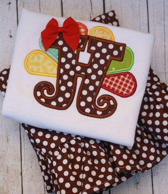 Girl's Monogrammed Thanksgiving Turkey Ruffle Pant Set on Etsy, $45.00