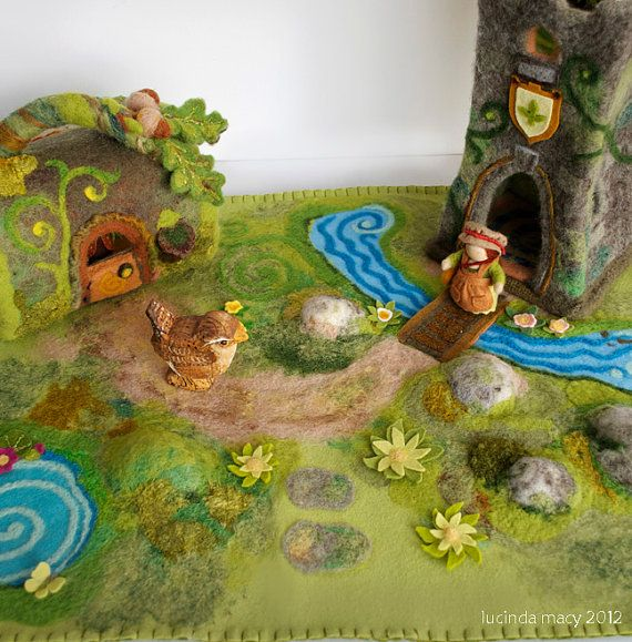 This is the largest Play Mat I have made, specially for felt Log Home and Castle Tower