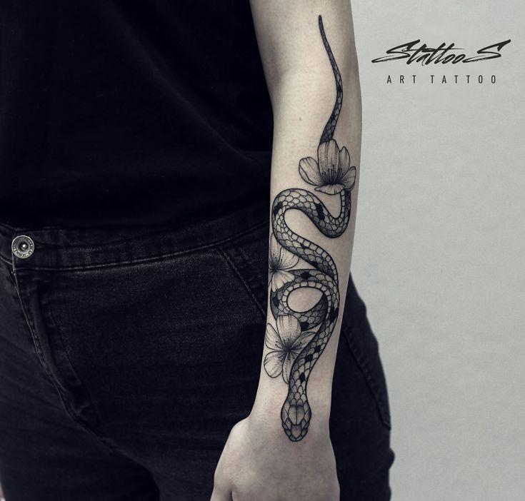 Snake tattoo on forearm blackwork by Stanislav Sidorov