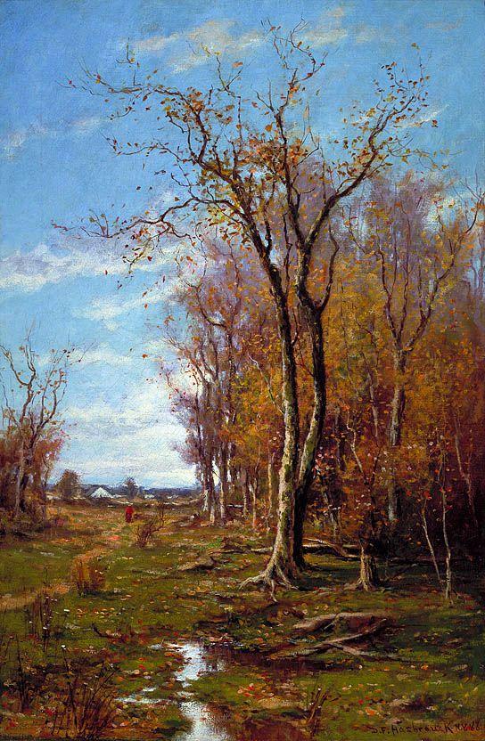 Autumn Landscape by Du Bois Fenelon Hasbrouck, 1888. oil on canvas. via @American Art Museum
