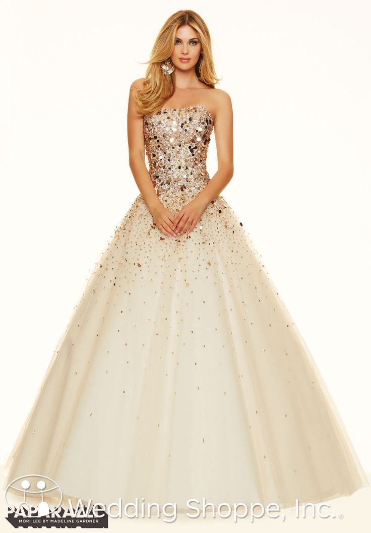 A beautiful champagne and gold ball gown with sparkly beaded bodice.   Paparazzi by Mori Lee Prom Dress 98021