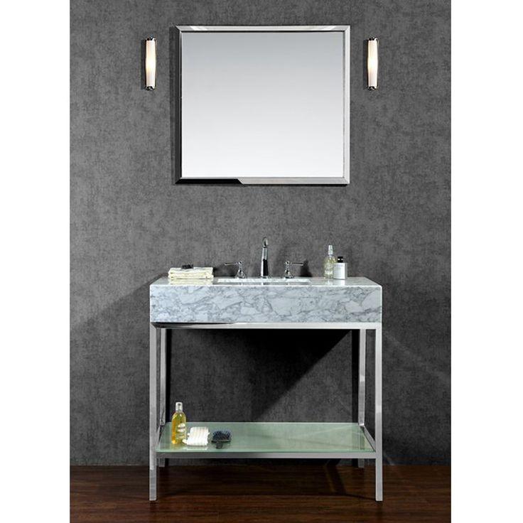 Ovestock this vanity set features an open back industrial - How to clean marble bathroom vanity top ...