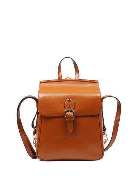 Shop Backpacks - Brown Retro Cowhide Leather Magnetic Backpack online. Discover unique designers fashion at StyleWe.com.