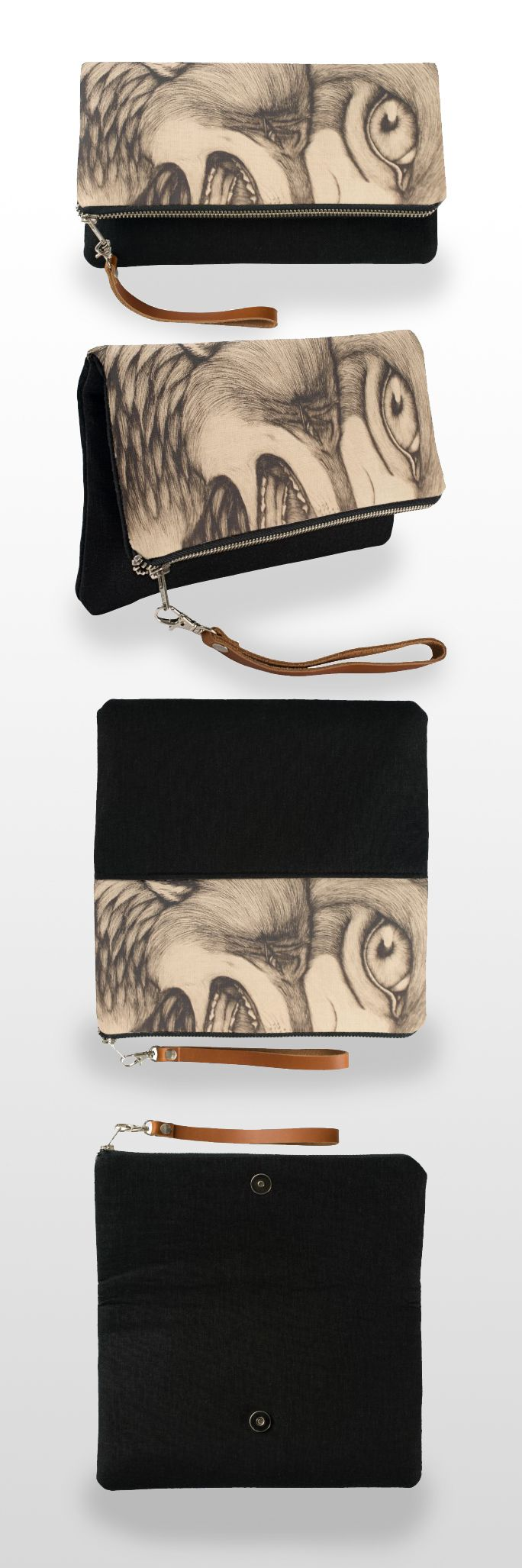 """You promised"" Clutch Bag  #wolf #wolves #art #illustration #pendrawing #blackandwhite #sepia #realistic #products #stuff #forsale"