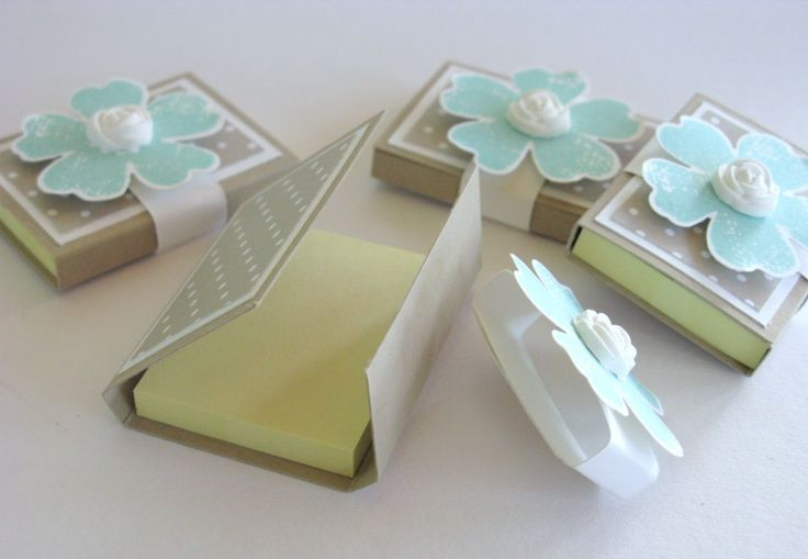 Post it note holder and belly band.  Pansy Punch, Flower Shop stamp set and a Clay molded rose.  Gorgeous!