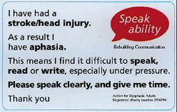 Partner information card for people with TBI/Aphasia