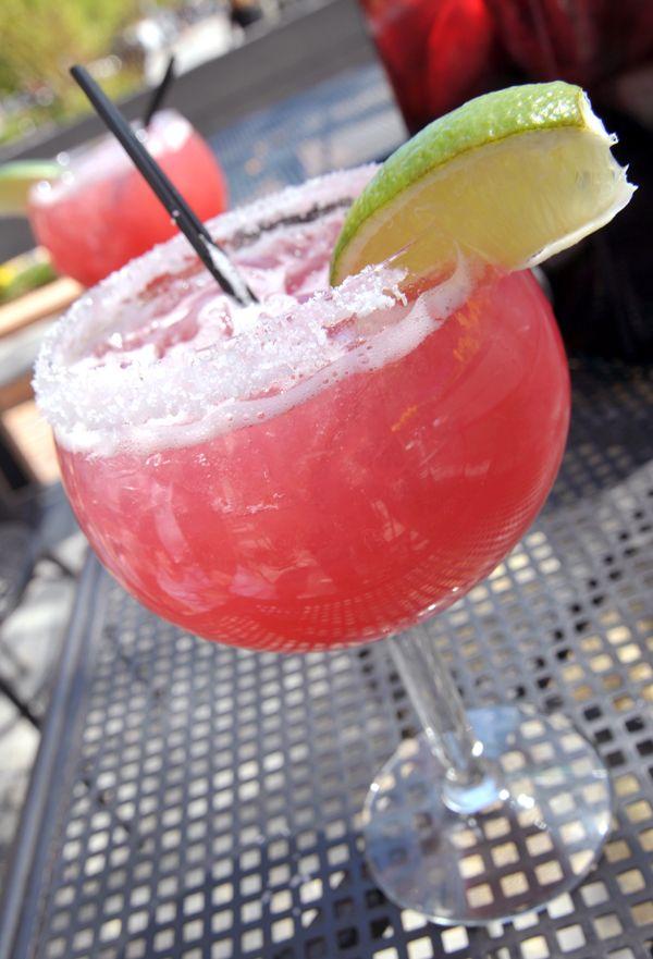 Prickly Pear Margarita:  1.5 oz. prickly pear infused tequila  ¼ oz. Triple Sec  Splash lime juice  Splash guava juice