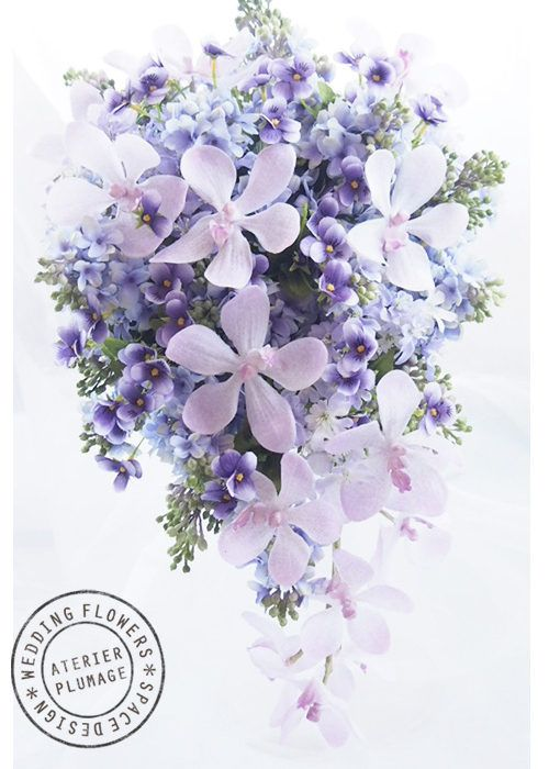 紫の濃淡が印象的なキャスケードブーケ(アーティフィシャルフラワーのブーケ ) 東京・Plumage -プルマージュ|ブーケ制作・手作りレッスン