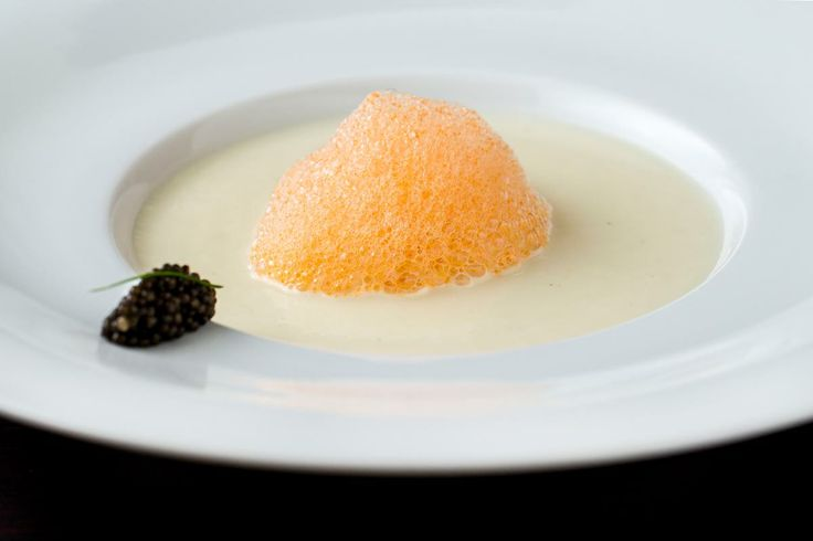 Cauliflower soup with sturgeon caviar and paprika foam