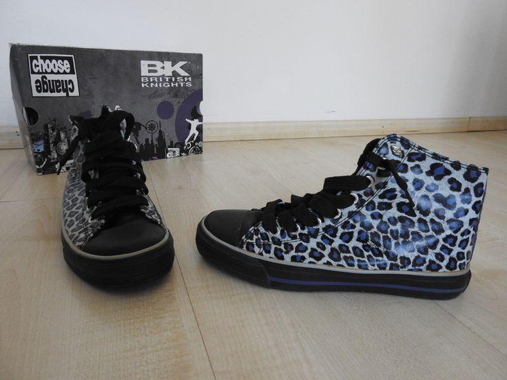 British Knights Sneaker Leopard Print Black White Blue